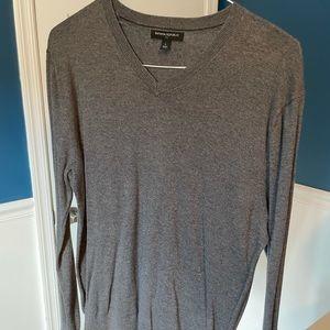 Banana Republic V-Neck Sweater, L, Charcoal